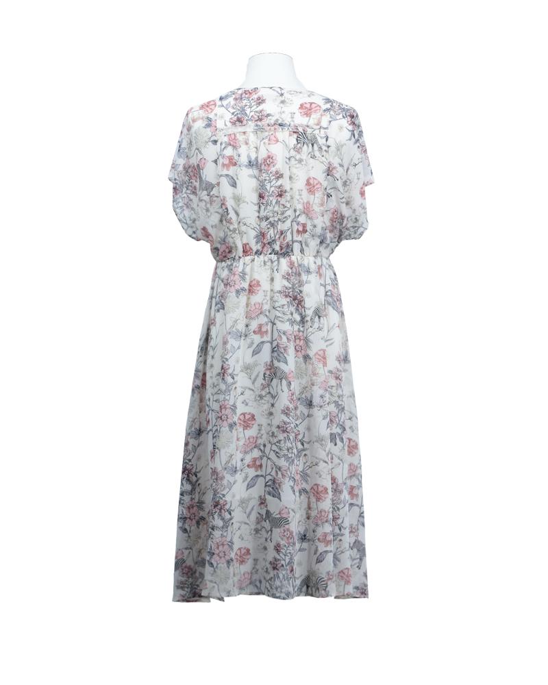 对丝印花连衣裙602028063常规连衣裙约会2020春夏二波